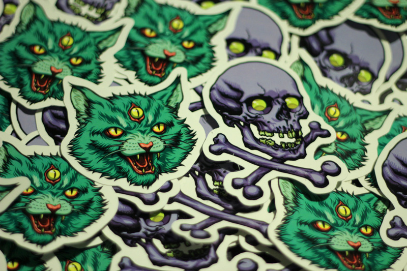 cat and skull stickers